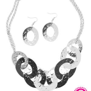 Silver Statement Necklace and Earring Set